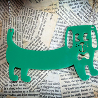 Acrylic Dog Sausage Dog Dachshund Green Plastic Statement Necklace