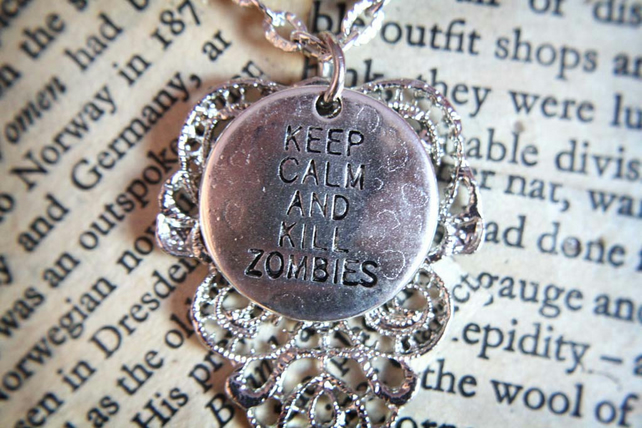SALE Keep Calm and Kill Zombies Walking Dead Apocalypse Silver Necklace