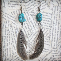 Turquoise Stone Brown Feather Dangle Hook Earrings