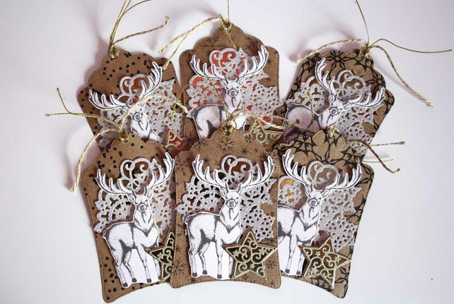 Christmas Reindeer Snowflake Gold Star Gift Tag Set