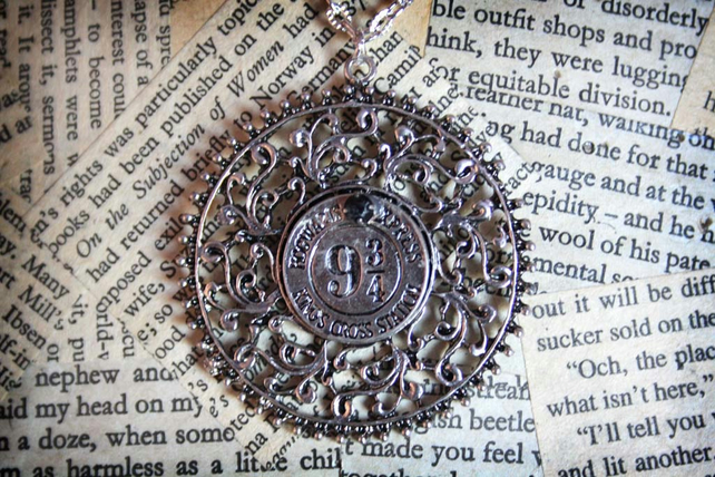 Kings Cross Station Platform Train Token Witch Wizard Silver Medallion Necklace