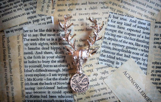Gold Deer Star Magic Words Witch Wizard Brooch
