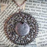 SALE Keep Calm and Kill Zombies Filigree Pendant Silver Necklace
