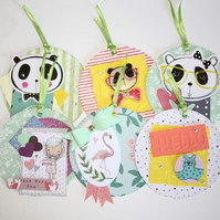 Panda Bear Flamingo Cat Flower Gift Tag Set Scrapbook Junk Journal