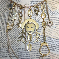 Statement Gold Tone Kitsch Punk Multi Charm Butterfly Face Key Star Necklace