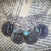Silver Tone Feather Hope Inspirational Word Turquoise Bead Necklace