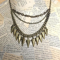 Antique Gold Tone Spike Charm Multi Chain Necklace