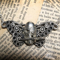 Pirate Skull Sword Butterfly Silver Tone Necklace