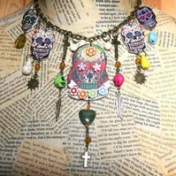 Day of the Dead Sugar Skull Flower Neckmess Statement Necklace