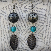 Feather Charm Ball Charm Turquoise Glass Bead Hook Dangle Earrings