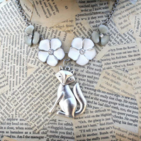 Silver Tone Fox Charm Flower Charm Statement Necklace
