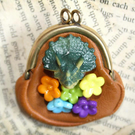 Dinosaur Flower Purse Brooch