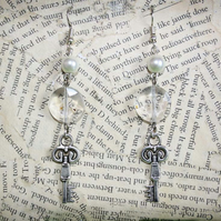 Silver Key Pearl Crystal Bead Hook Dangle Earrings