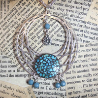 Silver Tone Turquoise Colour Boho Inspired Necklace