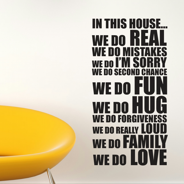 House Rules Wall Stickers -In This House Wall Sticker Decals quotes