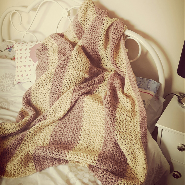 Large pink and cream handmade throw blanket