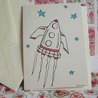 Rocket Ship blank hand drawn gift card