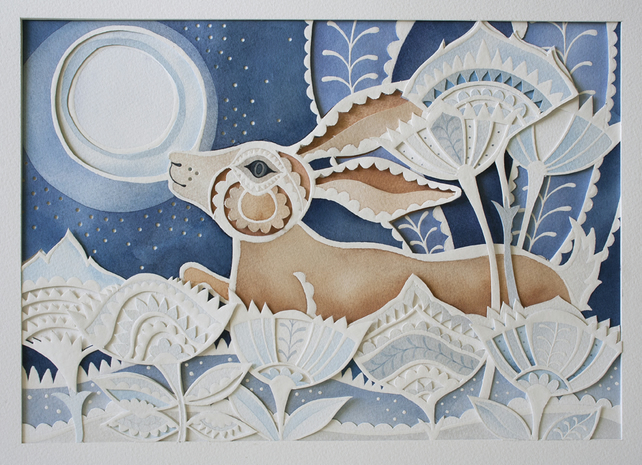 "Gift-Wall Art-Made To Order-Paper cut, Watercolour ""Prancing Hare"" Artwork"