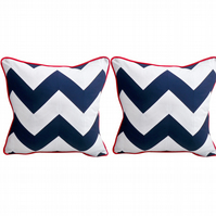 "Navy & White chevron cushion covers with red piping, set of two. 16x16"" Nautical"