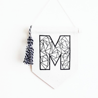 Wall Banner - Initial Banner - Initial Art - Wall hanging - Pennant Flag