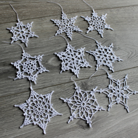 Set of 9 Crochet Snowflakes