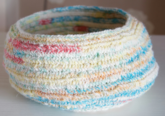 coiled multicoloured knitted bowl