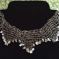 silver wire and rock crystal necklace