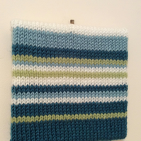striped knitted abstract art in turquoise light blue white and green