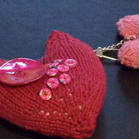 knitted two padded hearts keyring decorated with fabric buttons