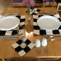 knitted black and white table mats and coasters matching set