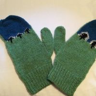 green and turquoise asymmetrical mittens,