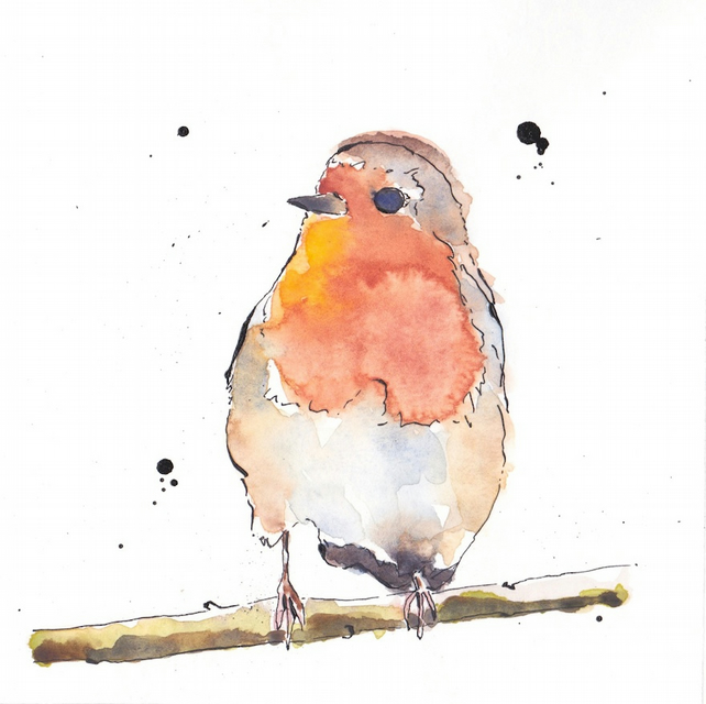 Robin Bird looking right Art Giclée Print of Or... - Folksy