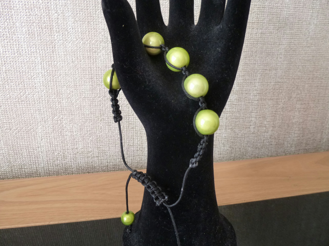 Green Bead and Black Cord Macrame Bracelet
