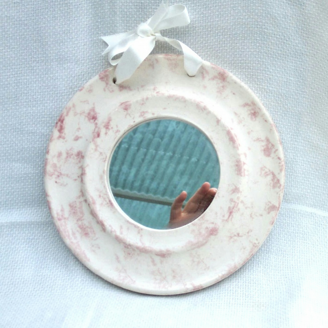 Pink and White Mirror - Ceramic Mirror - Pottery Mirror