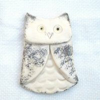 Black & White Owl Fridge Magnet - Ceramic Fridge Magnet - Pottery Fridge Magnet