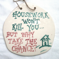 Housework Ceramic Pottery Wall Plaque