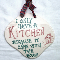 Kitchen Wall Plaque - Ceramic Plaque - Pottery Plaque - Funny Plaque