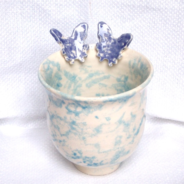 Blue Butterfly Urn - Ceramic Urn - Pottery Urn