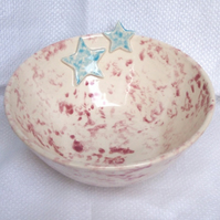 Pink Bowl with Blue Stars - Ceramic Bowl - Pottery Bowl