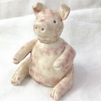 Daddy Pig Figurine - Ceramic Pig - Pottery Pig
