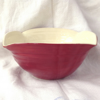 Red Squared Ceramic Pottery Bowl