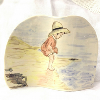 Little Girl Seaside Picture - Ceramic Picture - Pottery Picture