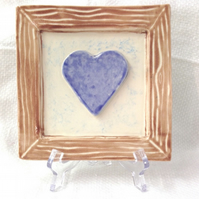 Rustic Framed Blue Heart - Ceramic Heart - Pottery Heart
