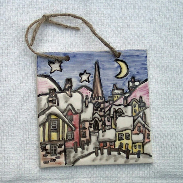 Night Before Christmas Tile - Decoration - Pottery Decor - Ceramic Decor