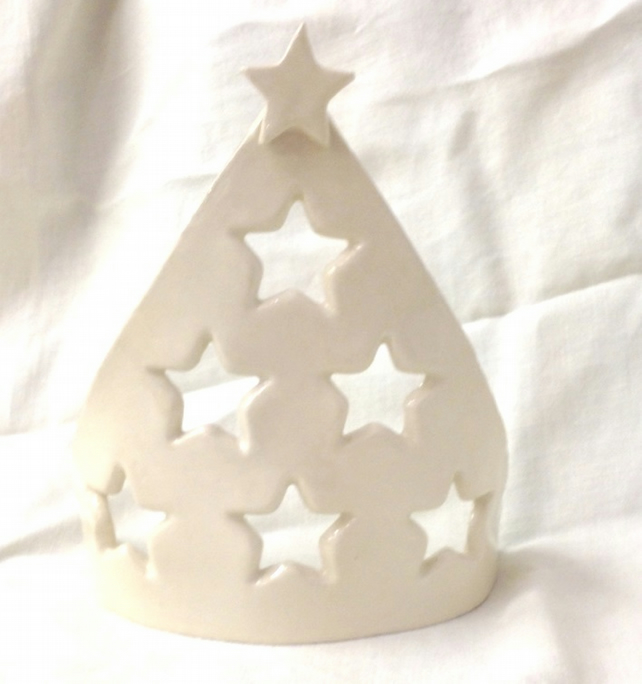 Christmas Tree Candle Screen - Ceramic Candle Screen - Pottery Candle Screen