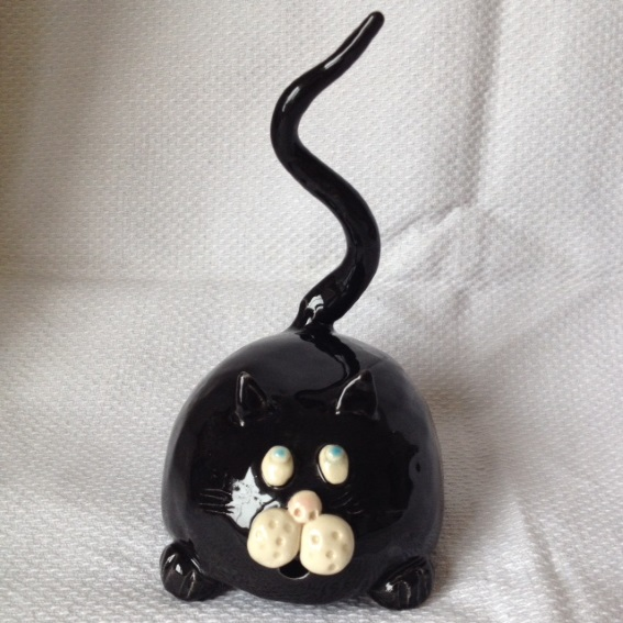 Black Fat Cat Ring Holder