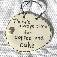 Coffee & Cake Plaque - Ceramic Plaque - Pottery Plaque