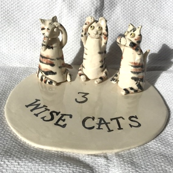 Three Wise Cats - Ornament - Figurine - Ceramic Cats - Pottery Cats