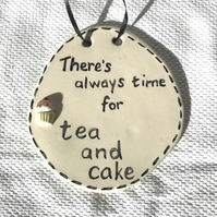 Tea & Cake Plaque - Ceramic Plaque - Pottery Plaque