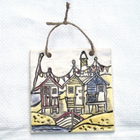 Beach Huts Tile - Ceramic Tile - Pottery Tile